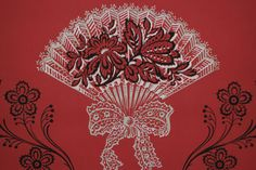 Items similar to Vintage Wallpaper Large Silver Metallic Fans and Black Flowers on Red by the Yard on Etsy