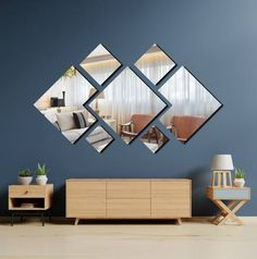 Decorative mirrors Tables adhesives and wallpaper - Art Table Mirror Decor Living Room, Room Wall Decor, Bedroom Decor, Bedroom Ideas, Home Room Design, Interior Design Living Room, Living Room Designs, Home Decor Furniture, Wall Design