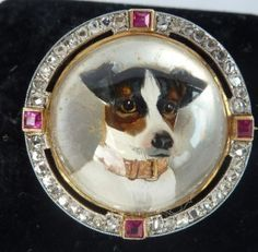 Terrier Rare Antique Art Deco Cufflinks; Hand Painted Reverse Intaglio Crystal Periods & Styles