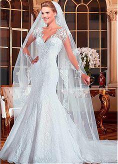 V-cuello de encaje elegante vestidos de novia de escote sirena