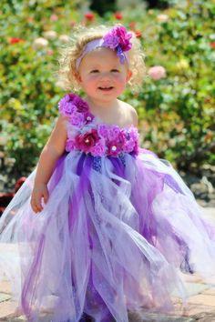 Girl's Long Tutu Dress with Flowers and Headband- Flower Girl, Wedding, Fairy Costume, Halloween, Pageants, Photos. $75.00, via Etsy.