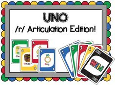 UNO Articulation game for /r/ and /r/-blends -- Speech therapy