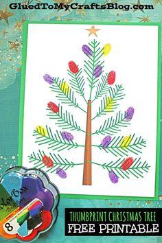 Art therapy activities christmas Thumbprint Christmas Tree - Kid Craft Idea w/free printable Preschool Christmas Crafts, Santa Crafts, Winter Crafts For Kids, Holiday Crafts, Christmas Activities For Toddlers, Kindergarten Christmas, Holiday Activities, Winter Fun, Winter Holidays