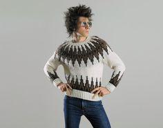 vintage fair isle sweater folk ethnic style brown cream white Mi Ki small medium