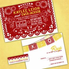 These Mexican Cutout Banner Wedding Invitations would work fabulously for your Day of the Dead themed wedding event. Mexican Cutout Banner Wedding Invitations - PAPEL PICADO - Custom Wedding Invites with RSVP cards and address labels - Day of the Dead