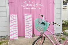 Pink Garage Doors on Tybee Island To read more about this little cottage that is being transformed click here: http://www.janecoslick.blogspot.com/2014/08/pink-garage-doorsare-you-kidding.html