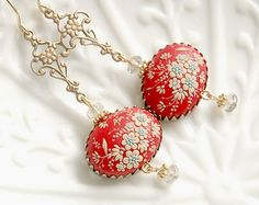 SPECIAL OFFER. Ready to ship. Vintage Carmine. Gorgeous handmade polymer clay earrings.