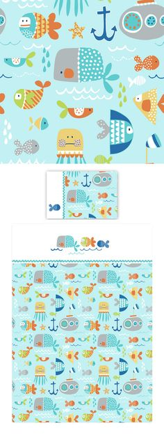 Sea Life by Wendy Kendall Cute Pattern, Pattern Art, Kids Patterns, Print Patterns, Stoff Design, Kids Prints, Pattern Illustration, Surface Pattern Design, Repeating Patterns