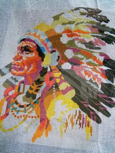 Indian chief needlepoint canvas