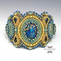 Arabian Nights Cuff Bracelet, Cobalt Blue, Gold, Bead Embroidery