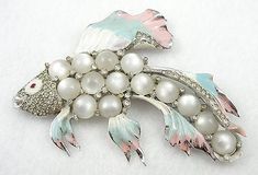 Coro Moonglow Fish Brooch - Garden Party Collection Vintage Jewelry