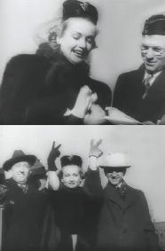 """One of the last photos of Carole Lombard at the conclusion of her hugely successful War Bond Drive in Indianapolis her home state of Indiana.  She is seen w/ the mayor of Indianapolis and Will Hayes (of the Hay's Office) giving the """"V for Victory"""" sign, before leaving w/  her mother and Gables PR agent on the deadly flight back to California."""