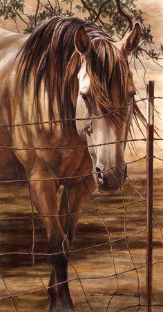 Dixie - Watercolor by Kara Castro,mooi ik heb erg veel met paarden,we hebben ze gehad,mits ze niet ,,zo verpest,, zijn door de mens,kan er een wederzijdse mooie en een liefde volle band ontstaan, waar het vertrouwen groot mag zjn,lbxx
