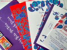 Wedding Invitations  Vera Bradley Inspired by WhoaNelliePress, $100.00 #henna #Indian #colorful #wedding #invitations