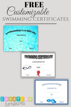 A variety of free printable swimming certificate templates. Customize online and print at home. Free Certificate Templates, Free Certificates, Sports Awards, Free Printables, Swimming, Swim, Free Printable