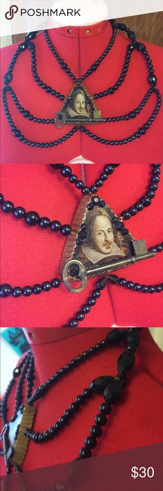Handmade William Shakespeare necklace Handmade beaded necklace Handmade Jewelry Necklaces