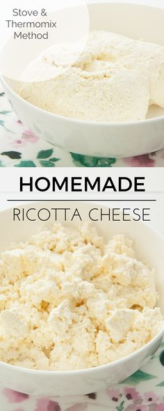 Making Ricotta Cheese is EASY! I love this recipe. The cheese can be made on the stover or in the Thermomix. #Thermomix #cheese #ricotta