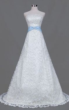 Lace wedding gown with blue sash