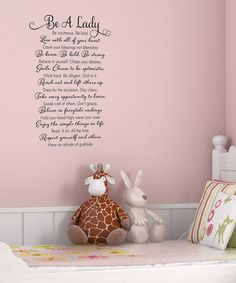 Take a look at this Black 'Be A Lady' Wall Decal on zulily today!