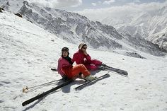 Iranian girls take a break from skiing at the Shemshak ski resort about 35 miles from Tehran. Shemshak and Dizin, situated in the Alborz mountain range close to the capital, are favourite getaways for wealthy Tehranis during the winter and spring months. #irantravelingcenter