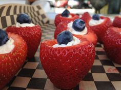 4th of July food idea, but instead of whipped cream topped with a blue berry, what about cheese cake filling? Hmmmmm?