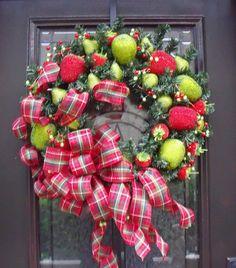 Christmas Wreath Williamsburg Fruit Designer Door Wreath Holiday Traditional Decoration Sale