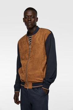 Men/'s Vintage ZARA MAN Bomber Grey 100/% Leather Jacket Coat Size M Pit To Pit 21 in