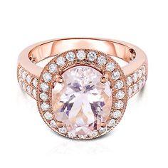 Morganite & 1/2 ct. tw. Diamond Halo Ring in 18K Rose Gold - 2194820