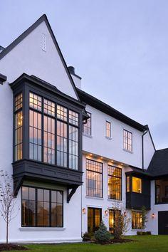 Tudor Revival House - Modern Tudor House Bay Window - Work by Others - Tudor House Exterior, Modern Farmhouse Exterior, Style At Home, Bay Window Exterior, English Tudor Homes, Tudor Style Homes, Villa, House Goals, House Painting