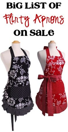 BIG List of Flirty Aprons on Sale! {$13.99+} - so many CUTE patterns! #apron #thefrugalgirls