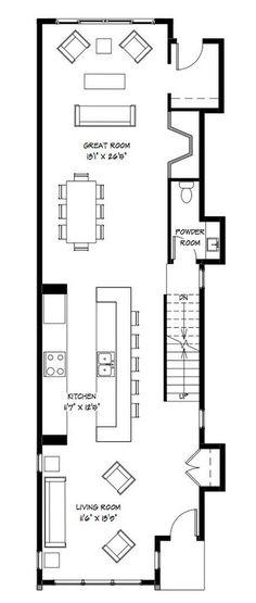 Planos de casa para terreno angosto y largo 52 5 m2 en 2 - Casas estrechas y largas ...