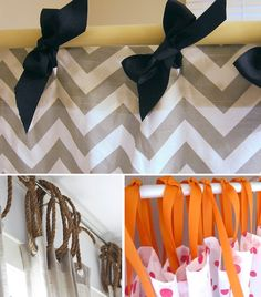 Use ribbon to hang a shower curtain! Awesome