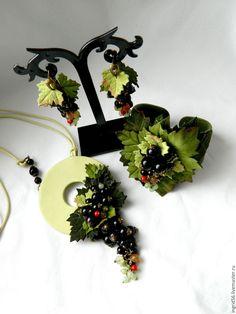 Купить Серьги из кожи и натуральных камней Черная смородина -2 - серьги ручной работы