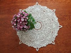 Round table topper 26 inches Crochet beige by CrochetedCosiness