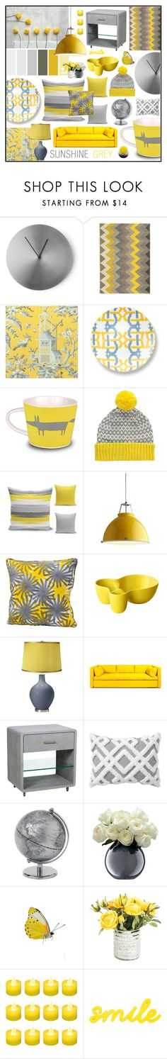 """Sunshine grey"" by beanpod ❤ liked on Polyvore featuring interior, interiors, interior design, home, home decor, interior decorating, Menu, Linon, Thibaut and B by Brandie"