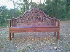 Headboard bench...THIS is my sister's creation! She and her son did a fantastic job! It looks great!