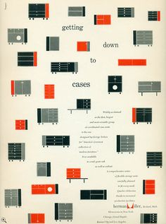 """The ad was created by Irving Harper for the office of George Nelson, as were the cases themselves, 1952, """"Getting Down to Cases."""""""