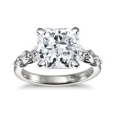 Brides.com: Engagement Rings with Large Center Stones. Style 17875, petite pavé engagement ring set in platinum with a 16.38 carat round-cut diamond, $2,000 (center stone not included), Blue Nile  See more Blue Nile engagement rings.