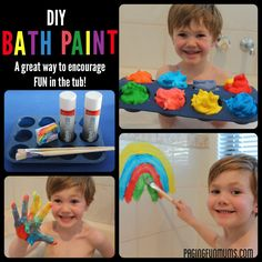 DIY Bath Paint! Shaving cream and food colouring make for a fun time in the tub.