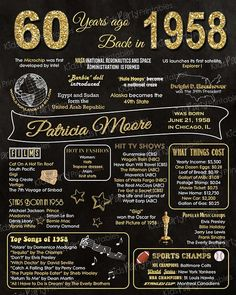 1958 - 60th Birthday Chalkboard Sign Poster - Our personalized chalkboard anniversary sign is filled with facts, events, and fun tidbits from 1958. Its a super fun keepsake and makes a truly special gift or party decoration. Simply print and use as is, or put in a frame.
