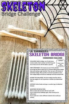 Skeleton Bridge Halloween STEM Challenge. Challenge your elementary aged kids to a STEM challenge that is perfectly themed for Halloween and the fall season. Challenge kids to build a skeleton themed bridge out of q-tips. Halloween Activities For Kids, Science Activities For Kids, Holiday Activities, Stem Activities, Kindergarten Science, Halloween Games, Halloween Crafts, Halloween Party, Preschool