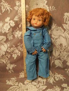 "14"" Composition Effanbee Little Brother Yarn Hair War Baby All Original"