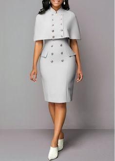 Cap Shoulder Button Detail Top and Back Slit Dress - Roupas da moda - Cap Dress, Slit Dress, Bodycon Dress, Panel Dress, Dresses For Sale, Dresses For Work, Dresses Online, Dress Sale, Office Dresses For Women