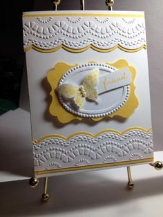 Stampin' Up! ... handmade card ... Delicate Designs ... layered label ... yellow and white ... butterfly ...  by cardmaker2
