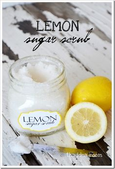 Homemade Lemon Sugar Foot Scrub ... Here's a direct link to the post:  http://herbsandoilshub.com/homemade-lemon-sugar-foot-scrub/