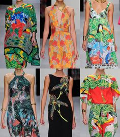 Issa London S/S 2013- Tropical visual experiments – Amazonian gardens – Colour enhances botanical and tropical prints – Large scale expression – Tropical birds - Artist studies