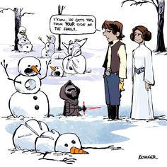 A Disney Artist Mashed Up Calvin and Hobbes With The Force Awakens - Ideas of Star Wars Kylo Ren - A Disney Artist Mashed Up Calvin and HobbesWith The Force Awakens Calvin Und Hobbes, Calvin And Hobbes Comics, Calvin And Hobbes Snowmen, Calvin And Hobbes Quotes, Star Wars Meme, Bd Star Wars, Star Wars Art, Star Trek, Star Wars Comics