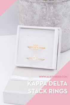 Sorority stack rings are the easiest gift for any celebration: Recruitment, Bid Day, Back to School & Big/Little. Spoil your new sorority girl with adjustable Greek letter stack rings! Kappa Delta Gifts | Kappa Delta Bid Day | KD Rings | Kappa Delta Jewelry | Sorority Bid Day | Sorority Recruitment | Sorority Jewelry Gifts | Sorority College Gift | Sorority New Member Gift Ideas #SororityGifts #SororityJewelry Kappa Delta Sorority, College Sorority, Sorority Recruitment, Sorority Gifts, Normal School, Bid Day Themes, Greek Design, College Gifts, Easy Gifts