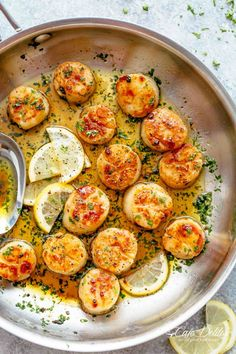 Have Crispy Lemon Garlic Butter Scallops on your table in less than 10 minutes, coated in a deliciously silky lemon garlic butter sauce! Cheaper than going out to a restaurant and just as good as chef made scallops! They are the ultimate treat! Seafood Pasta, Seafood Dinner, Fish Recipes, Seafood Recipes, Recipies, Bread Recipes, Lemon Garlic Butter Sauce, Garlic Salt, Fried Scallops
