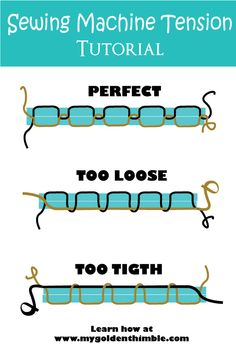 , Learn how to achieve the perfect sewing machine tension with this easy step by step troubleshooting guide. , Sewing Machine Tension: Master it once for all. Sewing Basics, Sewing Hacks, Sewing Tutorials, Sewing Tips, Dress Tutorials, Sewing Ideas, Sewing Machine Basics, Sewing Machine Projects, Sewing Machine Tension